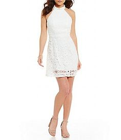 devlin Maryanne Lace Mock Neck Lace Dress