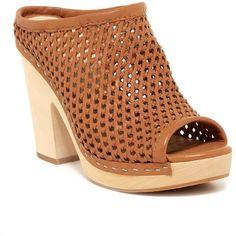 Dolce Vita Brooks Clog ($66) ❤ liked on Polyvore featuring shoes, clogs, caramel leather, platform slip on shoes, leather shoes, platform clogs, wooden platform shoes and high heel platform shoes