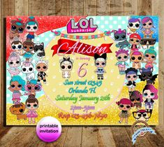 LOL surprise, LOL, Lol surprise invite, lol surprice party, lol surprice doll, lol invitation, lol doll, lol party, birthday, digital file