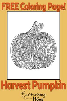 free printable harvest pumpkin coloring page for fall