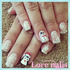 61 Christmas Nail Art Designs & Ideas for 2019 Christmas Gel Nails, Christmas Nail Art Designs, Holiday Nails, Winter Nail Art, Winter Nails, Snowman Nails, Seasonal Nails, Round Nails, Nagel Gel