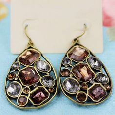 Pair of Fashion Openwork Drop Pendant With Rhinestone Inlaid Earrings For Women