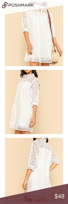 White High Neck Floral Embroidered Dress Stand Collar 3/4 Sleeve Short Dress Shift Silhouette Fabric has no stretch Floral Pattern 100% Polyester The dress is lined Season: Fall/Winter, Spring/Summer  Exact measurements on the comments below 👇  FW7 cute homecoming party cocktail wedding guest evening girls night out graduation date night club Vegas formal casual prom special occasion vacation sexy valentines cruise resort chic pageant coachella MBM Unlimited Dresses Long Sleeve