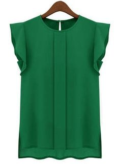 Love this green color and cute details on this blouse