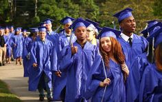 Graduates begin the procession for Blue Hills Vocational Technical High School's 2016 graduation on Tuesday, June 7, 2016. — Gary Higgins/The Patriot Ledger