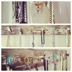 Fun way to hang Jewelry! Grab an old wood plank and screw some knobs and hooks on! Hang Jewelry, Jewelry Making, Organizing, Organization, Logo Design, Graphic Design, Wood Planks, Old Wood, Fun Ideas