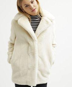 Topshop Krótki płaszcz futerko sztuczne cream