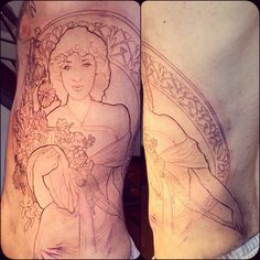 Fun start on a big rib section! Used a photo of his mom for reference combined with a Mucha body.