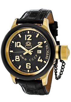 Invicta Men's Russian Diver Black Dial Black Genuine Leather $169.00