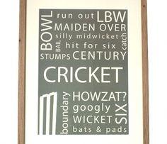 Typographic Art Cricket Print: Sparrow Primitives