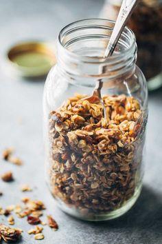 Coconut oil granola with pecans, pistachios, golden raisins, honey, oats, and coconut oil