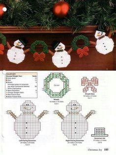 Plastic Canvas Ornaments, Plastic Canvas Tissue Boxes, Plastic Canvas Crafts, Plastic Canvas Patterns, Plastic Craft, Plastic Canvas Christmas, Holiday Canvas, Snowman Crafts, Snowman Wreath