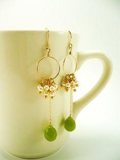 Mother's Day Gifts, Mother's Day Sale, Green Hoop Earrings, Cluster earrings, Dangle earrings, Spring Celebrations, Trending Items. $45.00, via Etsy.