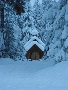 The wedding chapel at Mulvehill Creek in Revelstoke, BC is ready for a snow-loving couple!