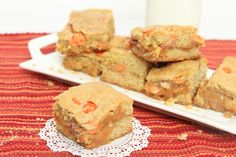 Reese's Pieces Caramel Cookie Bars | Just Short of Crazy...these could get me in trouble! ;)