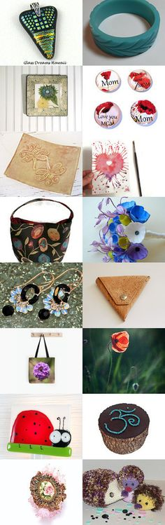 For Her by Suzanne Perry on Etsy--bucket bag purse celluloid bangle cork coin purse dangle earrings dichroic glass pendant dragonfly spoon rest for her for the grad graduation gifts hedgehogs ladybug mom magnet mothers day gifts om pink rose ring poppies sunflower plate wedding bouquet