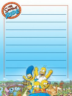 "The Simpsons Ride - Universal - Project Life Journal Card - Scrapbooking ~~~~~~~~~ Size: 3x4"" @ 300 dpi. This card is **Personal use only - NOT for sale/resale** Logos/clipart belong to Universal. ***Click through to photobucket for more versions of this card***"