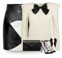 """""""Black & White Patchwork Skirt"""" by majezy ❤ liked on Polyvore featuring FAUSTO PUGLISI, Yves Saint Laurent, Balenciaga and Boohoo"""