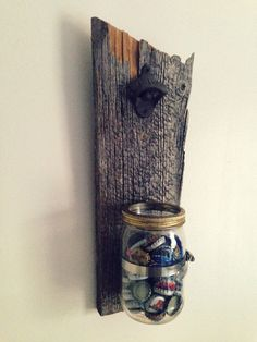 Antique bottle opener wall mounted on barn wood with mason jar. While ordering, tell us about your choice.  Dimension : 171/2 / 8  Other shipping