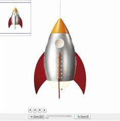 Children's Rocket Ceiling Light