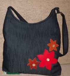 Női farmer táska bőrrel díszítve, Táska, Szatyor, Válltáska, oldaltáska…