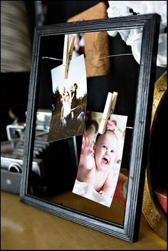 DIY floating wire picture frames