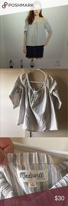 Madewell striped off-the-shoulder top NWOT This 100% cotton top is NWOT and has never been worn. It's a lightweight swingy striped top that would be great for summer! Madewell Tops