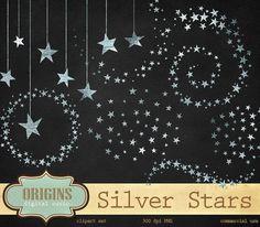 Silver Stars Clipart Glitter Clip Art Silver foil stars
