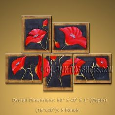 5 Pieces Contemporary Wall Art Floral Poppy Flower Gallery Wrapped. In Stock $153 from OilPaintingShops.com @Bo Yi Gallery/ ops2219
