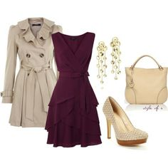 Purple dress, Khaki coat w/ bag, pearl pink shoes