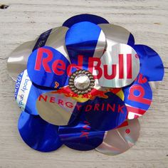 Recycled Soda Can Metal Flower Pin / Brooch : Red Bull