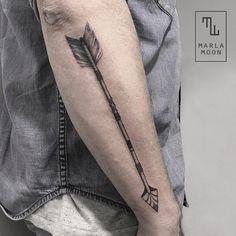 Dotwork Arm Arrow Tattoo by Marla Moon
