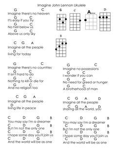 Imagine By John Lennon Alternative Ukulele Chords Melissa Y Eureka G C A D B Ukulele Songs Imagine John Lennon Ukulele