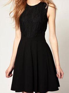 Vestido+encaje+combinado-Negro+$MXN365.87