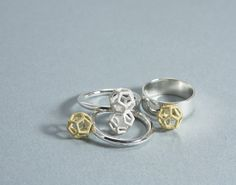 Dodecahedron Rings by Charles Wyatt Jewellery