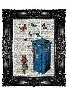 Alice in Wonderland & Tardis 3  Upcycled Book Recycled by nommon
