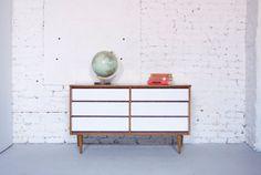 Mid Century Modern Six Drawer Dresser Credenza - Painted White - Wood Body - 50s 60s Retro