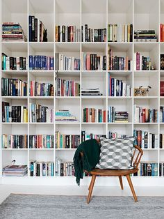 Books, shelves i'd have them full... or have adjustible shelves so no space is left alone w/o a book in it.: