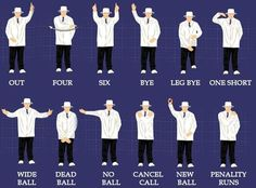 The Umpire's signals in cricket.