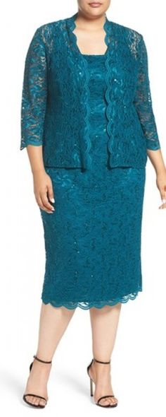 Plus Size Women's Alex Evenings Lace Dress & Jacket, Size 20W - Blue