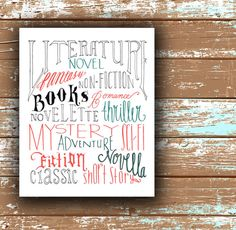 BOOK LOVER typography Print Tangerine & Teal 8x10 Book Quote