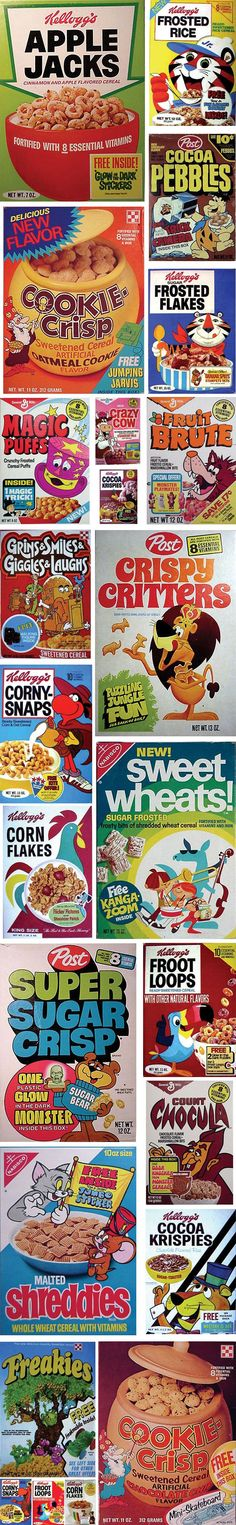 Retro cereal boxes - We usually picked our cereal for the prize inside. Lol!