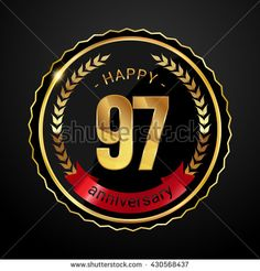 97 golden anniversary logo with red ribbon, low poly design number - stock vector