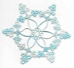 I needed a second snowflake to give to a friend of mine this Christmas, so I designed this one to go with the one from October. This one is actually Bruce's design with a few modifications fr… Tatting Lace, Tatting Patterns, Lace Making, Snowflakes, Free Pattern, Knit Crochet, My Design, Ice, Stitch