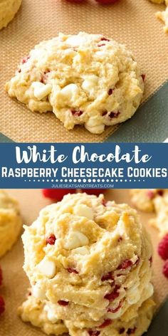 Delicious White Chocolate Raspberry Cheesecake Cookies are made with a muffin mi. - Delicious White Chocolate Raspberry Cheesecake Cookies are made with a muffin mix and delicious! White Chocolate Raspberry Cheesecake, Raspberry Cookies, Chocolate Cheesecake Recipes, White Chocolate Recipes, Biscotti Cheesecake, Rasberry Cheesecake, Raspberry Macaroons, Cookie Cheesecake, Recipes