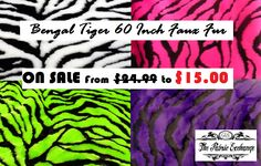 How about a Bengal Tiger 60 Inch Faux Fur Fabric for your cosplay costume? And not just that, this fur is also used in #clothing, #stuffed animals, fashion accessory and home decorations like #pillows. Currently on sale for a limited period of time!  For more info visit: http://thefabricexchange.com/tiger-faux-fur/  #thefabricexchange #fauxfur #sale #best #quality #fashion #elegant #beauty #design #savings #costume #cosplay #shop #tiger #bengal