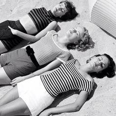 1950s stripes on a beach