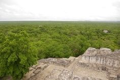View from the top of the Great Pyramid (Structure II) – 2 unexcavated pyramids seen in the distance