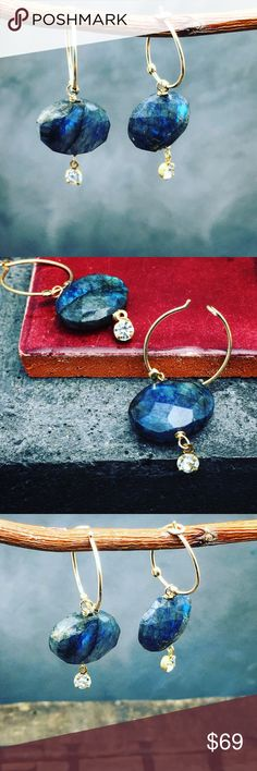 """NWT Blue Labradorite Hoops Stunning flashy blue Labradorite faceted stones with little tiny rhinestone on a handmade 14k gold fill hoops. length about 1"""". Matana Jewelry Earrings"""