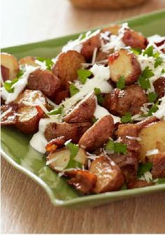 Roasted New Potatoes – Mayo, lemon juice and garlic combine for a topping, while bacon and cheese up the yum factor. This side pairs great with an Easter dinner!